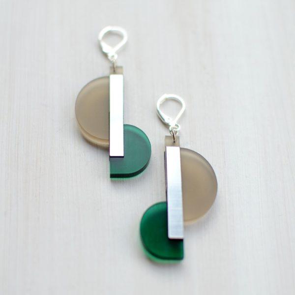 Duo long Taupe Vert Argenté