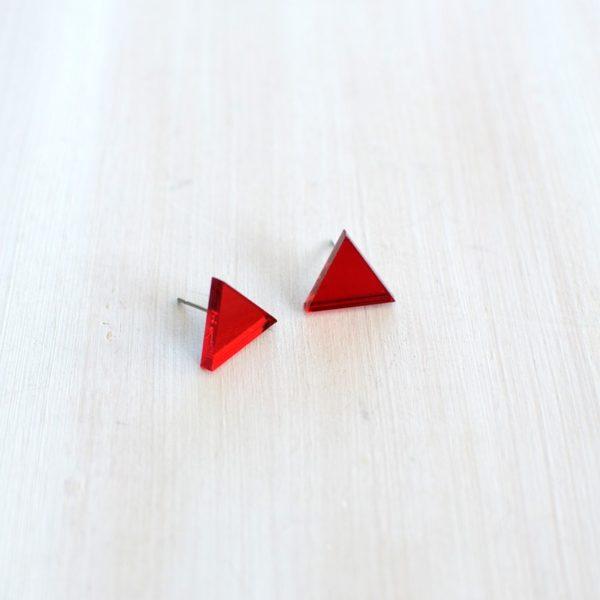 Boucles d'oreilles en plexi miroir rouge, création design made in Belgium