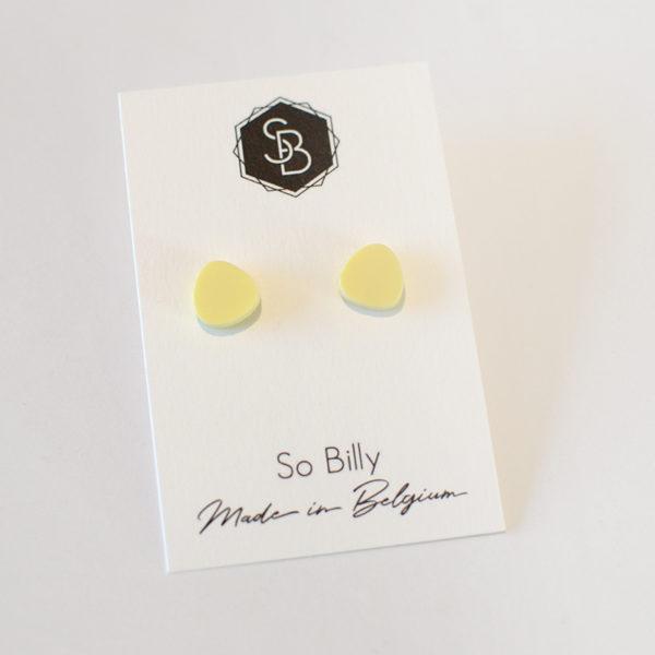 boucles d'oreilles mini oave jaune pastel mat