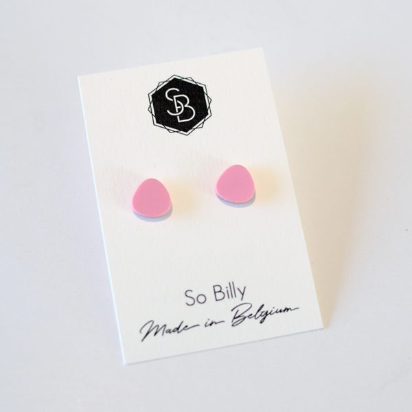 boucles d'oreilles So Billy, mini oave plexi rose pastel mat